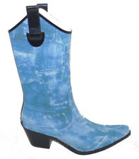 Womens Western or Cowboy Style Tall Rain Boots in Blue Denim by Corkys