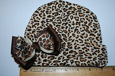 Cotton Knit Animal Print Baby Beanie Hats with Handmade Bows (3 months and up)