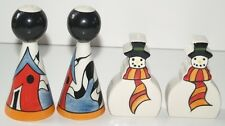 LORNA BAILEY Salt and Pepper Sets Shakers Snowman Porthill Signed by Lorna -
