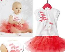 Baby Girl Toddler 2 piece set t-shirt tutu skirt coral red Party outfit  6m-5yrs