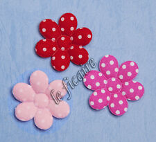"U PICK ~ 1.25"" 6-Petal Polka Dots Flower Appliques Sew On Crafts x 60 pcs #2019"