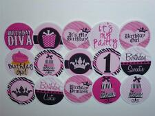 PINK BLACK HAPPY BIRTHDAY GIRL BOTTLECAP IMAGES PARTY FAVORS SCRAPBOOKING CRAFTS
