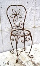 """30"""" Wrought Iron Chair Holds 12"""" Pot  Metal Basket  Container Patio Planter"""