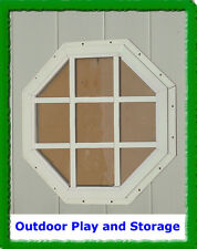 """18"""" OCTAGON SHED WINDOW PLAYHOUSE BARN OUTDOOR BUILDING  GLASS  WHITE"""