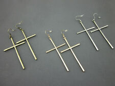 Fashion Large Gold and Silver Tone Cross Earrings