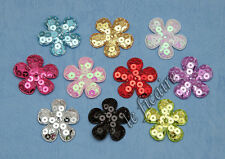 "U PICK~ 1-3/8"" Padded Sequin Flower Appliques Sew On Trims Crafts x 50 pcs #2552"