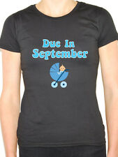 DUE IN SEPTEMBER - Baby Boy / Pregnant / Pregnancy / Blue Themed Womens T-Shirt