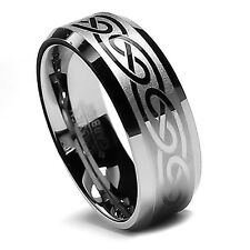 8MM Men's Tungsten Wedding Band Set, Robust His Laser Etched Celtic Design Ring!