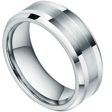 8mm Tungsten Carbide Rings Men Women Polished Matted Beveled Titanium Color