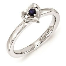 Silver Stackable Heart Ring Created Sapphire Stone, September Birthstone QSK1530