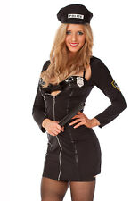 Ladies Costume Fancy Dress Up Sexy Black Police Cop Officer Uniform Sz 6,8,10