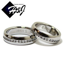 His & Hers 2 Pcs Stainless Steel 6mm Silver Eternity CZ Wedding Band Ring SETS