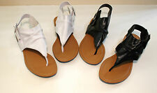New Womens Faux Leather Flat Ankle Gladiator Thong Sandals Shoes Size