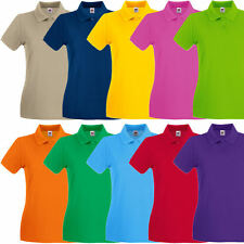 Fruit of the Loom Damen Kurzarm Premium Shirt Polo T-Shirt   I  XS S M L XL XXL