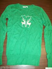 WOMEN'S GREEN SWEATER PULL OVER HAS TWO DEER WITH HORNS AND BEADS