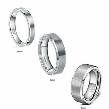 4mm Tungsten Carbide Ring Brushed &Polished Beveled Edges Wedding Band Thin