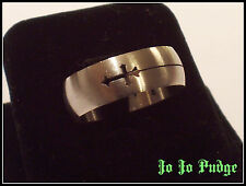 Laser Cut Cross - Stainless Steel - Band Style - (Unisex Ring) - U85