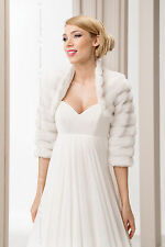WEDDING WHITE FAUX FUR SHRUG BRIDAL BOLERO JACKET COAT  S M L XL -B28