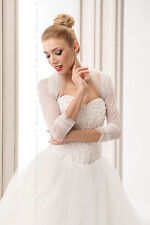 Bridal Ivory Tulle Bolero Shrug Wedding Jacket   S/M - L/XL -B119