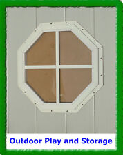"""OCTAGON SHED WINDOW PLAYHOUSE BARN OUTDOOR BUILDING  GLASS 14"""" WHITE"""