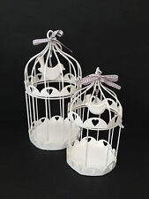 HANGING WHITE METAL BIRD CAGE HEART DOVE CANDLE HOLDER  VINTAGE CHIC WEDDING