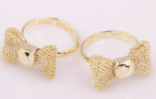 2 Colors Korea Style Cute Knitted Bowknot Adjustable Ring Silver&Golden  U Pick