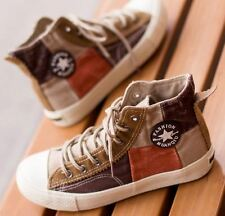 Women Girl flat plaid casual high top lace up canvas shoes sneaker classic 2363