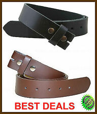 BLACK BROWN CASUAL DRESS LEATHER BELT STRAP SNAP ON NO BUCKLE SOLID  MENS WOMENS