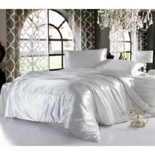 WHITE SOLID SATIN SILK COMPLETE USA BEDDING ITEM 1000TC CHOOSE SIZE AND ITEMS