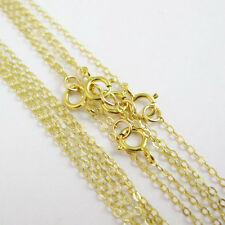 18K Gold Plated over Sterling Silver Necklace-Cable Flat Oval Chain (All Sizes)