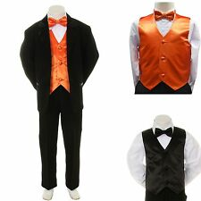 New Baby Boy Formal Wedding Party Black Suit Tuxedo + Orange Vest Bow Tie S-14