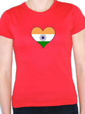 INDIA / INDIAN FLAG IN A HEART SHAPE South Asia / Novelty Themed Womens T-Shirt