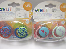 PHILIPS  AVENT CLASSIC ORTHODONTIC  SOOTHER  6-18  MONTHS  BOYS/GIRLS  BPA FREE