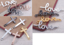 smooth cross love letter bracelet connector charm findings curved side ways bead