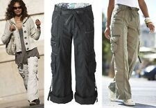 "WOMENS LADIES WHITE COTTON COMBAT CARGO ROLL UP 3/4 CROP TROUSERS 27"" 30"" LEG"