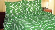 REGAL COMFORT ZEBRA STRIPE SHEET SET 800 GREEN/WHITE BEDDING TWIN QUEEN