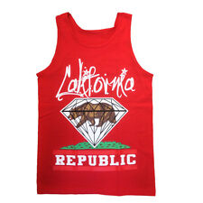 Men's tank top Red Color CALIFORNIA REPUBLIC TANK TOP T-shirt CALI DIAMOND Bear