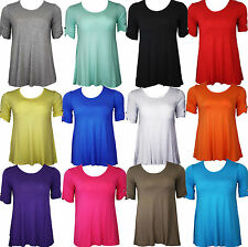 New Womens Plus Size Short Sleeve Flared Ladies Long Plain Top 14 16 20 22 26 28