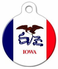 IOWA FLAG - Custom Personalized Pet ID Tag for Dog and Cat Collars