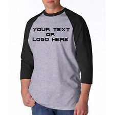 Custom Personalized  Baseball 3/4 Jersey Raglan T Shirt - Put Your TEXT or LOGO
