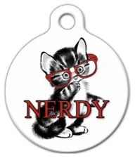 NERDY KITTEN - Custom Personalized Pet ID Tag for Dog and Cat Collars