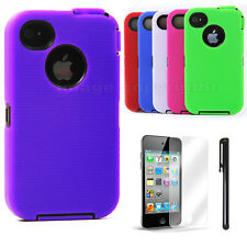 New Hybrid Rugged Heavy Duty Impact Case for Apple iPhone 4 4S + Stylus & Screen
