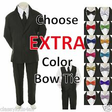 New Baby Toddler Boy Black Formal Wedding Suit Tuxedo + Extra Color Bow Tie S -7