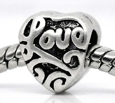 NEW Silver Tone Pattern Love Heart Charm Beads Fit Most European Charm Bracelets
