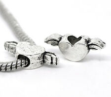 NEW Silver Tone Winged Love Heart Charm Beads Fit Most European Bracelets