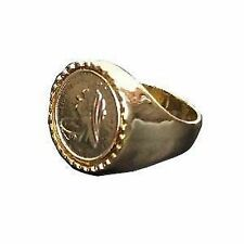 Ladies Boys Mens Casual Gold Coloured Heavy Sovereign Coin Fashion Ring