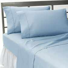 Sale 1000TC 100%Cotton Complete UK Bedding Collection Lt Blue Solid Choose Items