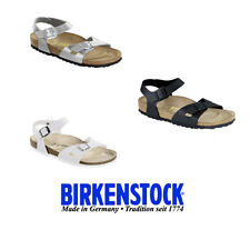 Birkenstock Rio Birko-Flor Sandals Regular & Narrow in Black/Silver/White ! K-A