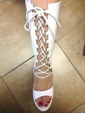 Womens Sexy Platform Knee High Gogo Boots White Shiny Lace Up High Heels
