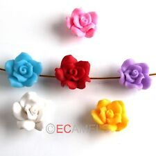 Hot 30pcs Mixed Rose FIMO Polymer Clay Charms Spacer Loose Beads 20mm Free ship